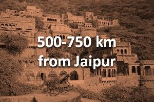 500-750 km from jaipur